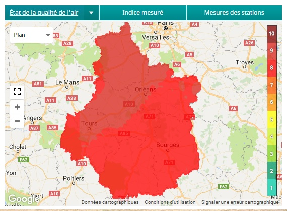 Pollution atmospherique par des particules fines (PM10) - Alerte niveau 2 - , .JPG 95Ko ()